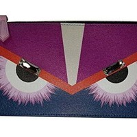 Fendi Monster Pouch Cobalt Blue Fur Crystals Leather Italian Bag