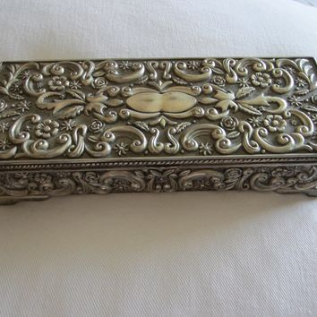 Godinger Silver Mirrored Sectional Rectangle Jewelry Box Floral Chasing