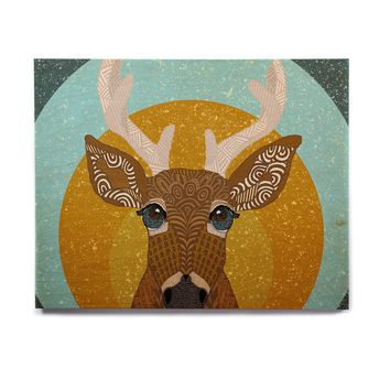 "Art Love Passion ""Stag in Grass"" Yellow Blue Birchwood Wall Art"