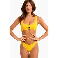 Julia Sporty Bikini Top - Sunshine Gold