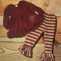 Burgundy & Cream Striped Outfit