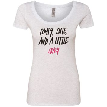 Cute Crazy Black-Pink Font Ladies' Triblend Scoop