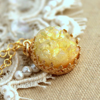 Yellow Druzy Necklace aqua,gift for woman, druzy jewelry - 14k gold filled necklace with real gemstone.