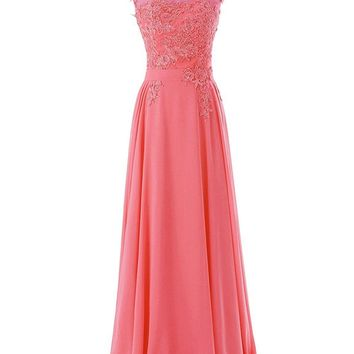 Women Long Bridesmaid Chiffon Prom Dresses Scoop Evening Gowns with Appliques