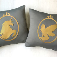 Gold Unicorn Gold Fairy Cameo Grey Decorative Pillow Covers Set. Fairy Tale Pillow Case. 16inch Unicorn Cushion Cover