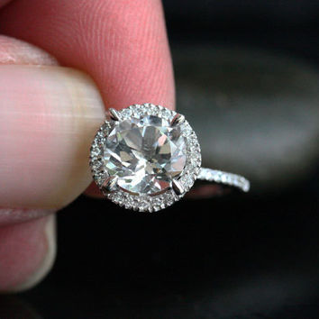 Single Halo 14k White Gold 8mm White Topaz Round and Diamonds Wedding or Engagement Ring (Choose color and size options at checkout)