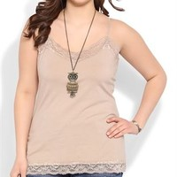 Plus Size Cami with Lace Trim