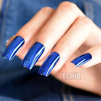 20pcs Fashion Blue Metal Plate Fake Nails Reflective Mirror Punk Style Metallic Long Square False Nail for Party or Gift