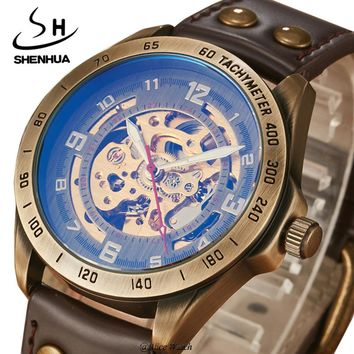 SHENHUA Fashion Leather Mechanical Watches for Men Antique bronze Skeleton Automatic Men's Watches Clock Gifts Relogio Masculino