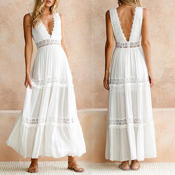 Deep V Elegant White Lace Sexy Dress Women Backless Hollow Out Summer Chiffon Long Maxi Dresses Female Clothing S M L XL