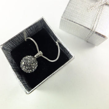 Gray Pave Ball Rhinestone Pendant Necklace Prom Wedding, Disco Ball Swarovski Crystal Silver Toned Chain