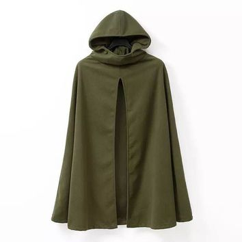 2016 Fashion Hooded Cape Coat Poncho Jacket Women Autumn Winter Outerwear Coat Loose Amry Green Color Casacos Femininos