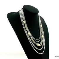 Continental necklace seven chain multi strand vintage 1970s silver tone bead necklace