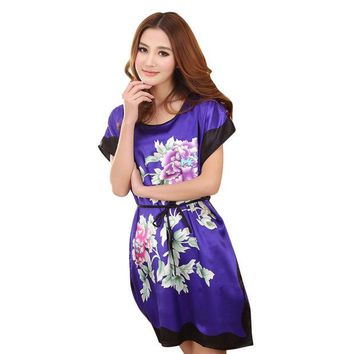 DCCKL3Z Ladies Sleepwear Dress Round Neck Printed Women Nightgowns Clothes Summer Autumn Latest