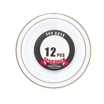 Disposable Deluxe Plastic Plates with Stamping Ring, Gold, 7-1/2-Inch, 12-Count