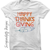 Happy Thanksgiving Shirt - Thanksgiving Iron on Transfer / Toddler Tee Digital File / Thanksgiving Kids Shirt / Womens Holiday Outfit IT474
