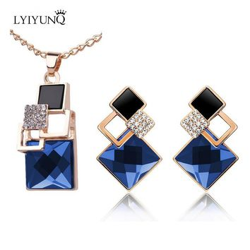 Square Geometry Jewelry Sets pandent Necklace Stud Earrings Crystal Magic Space Jewelry Set For Women