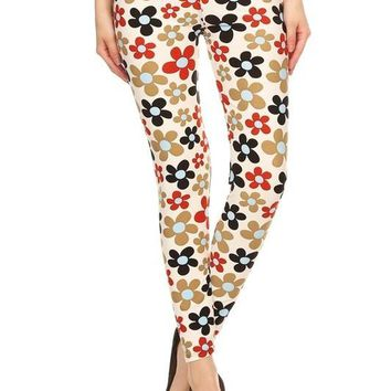 Flower Power Print Leggings- Regular Size!