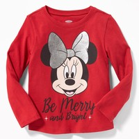 "Disney© Minnie Mouse ""Be Merry and Bright"" Tee for Toddler Girls