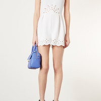 Lasercut Waist Playsuit - Rompers - Clothing - Topshop USA