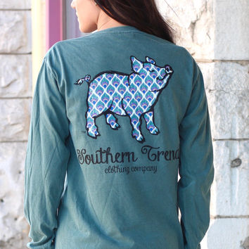 Peacock Proud Pig Long Sleeve Tee {Blue Spruce}
