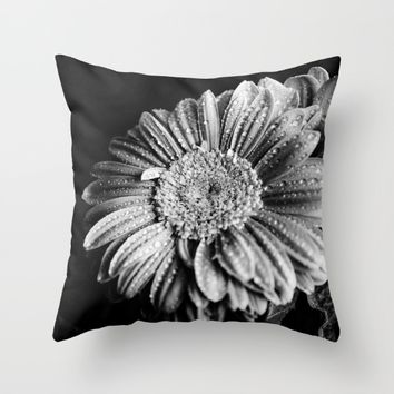 Gerbera black and white  Throw Pillow by VanessaGF