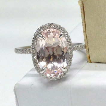 BIG 8x12mm Oval Morganite Engagement Ring 14K White Gold!.34ct Diamond Wedding Bridal Ring,Halo Design,Claw Prongs,custom make matching band