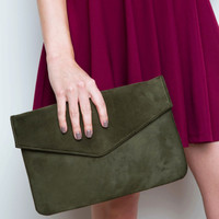 Shirelle Envelope Clutch - Olive