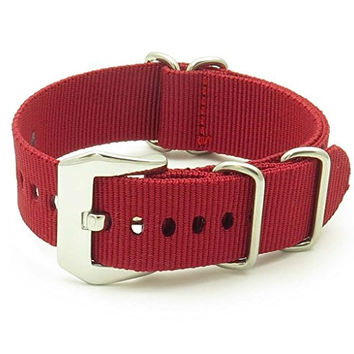 StrapsCo Burgundy Red Ballistic Nylon Nato Zulu Watch Strap w/ PRE-V Buckle size 22mm