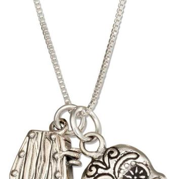 "Sterling Silver Necklace:  18"" Coffin And Sugar Skull Pendant Day Of The Dead Necklace"