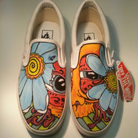 CW Street Wear Custom Vans Slip ons Flower edition