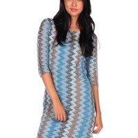 BB DAKOTA Larisa Zig Zag Dress - Blue