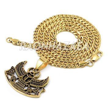 Hip Hop Iced Out Stainless Steel Gold Egyptian Scarab Beetle Pendant W Cuban Chain