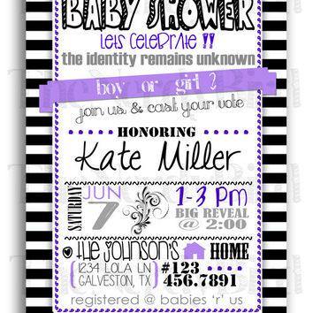 Black and White Striped with Purple Gender Reveal Printable Baby Shower Invitation