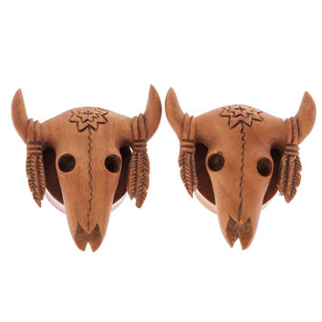 "Buffalo Skull Carved Saba Wood Plugs (4g-2"")"
