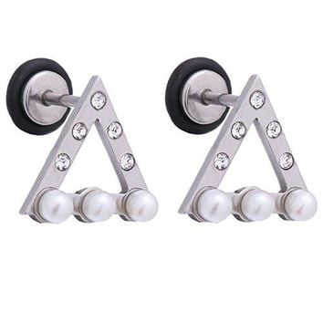 BodyJ4You Earring Stud Jeweled Triangle Silvertone Surgical Steel 18G Screw Back Ear Piercing