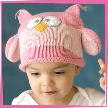 Owl Hoot Pink Beanie for 2-3 yrs