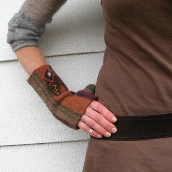 Earthy Fingerless Gloves with Stripes -  Handmade, Eco Friendly, Felted Wool, Arm Warmers