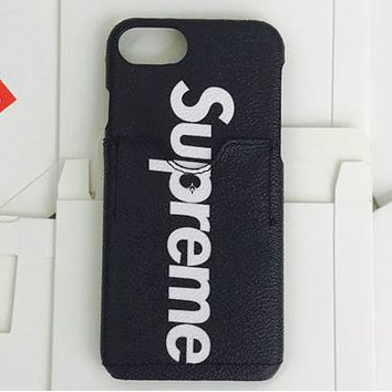 LV & Supreme joint tide brand men and women mobile phone case protective cover F-AL-BSYHD Black