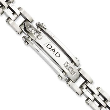 Men's Stainless Steel and Cubic Zirconia DAD ID Bracelet, 8.5 Inch