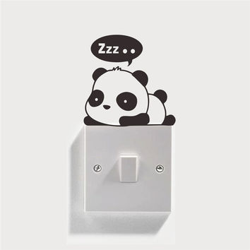 3 funny panda switch stickers cartoon wall decoration 351. diy vinyl adesivo de parede home decal mual art waterproof poster 0.0
