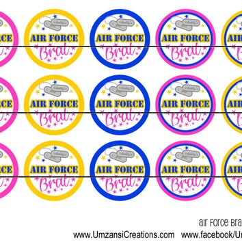 Air Force Brat Instant Download Digital Bottle Cap Images