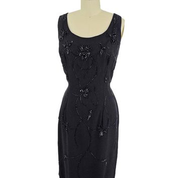 60s Beaded Black Crepe Cocktail Dress-M
