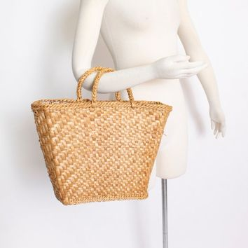 Vintage Basket Purse - 1960s Woven Straw Brown Top Handel Market Tote Bag 60s