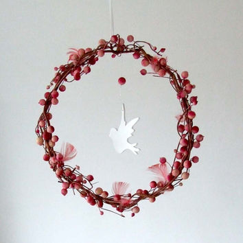 Baby Mobile - Bird Mobile - Baby girl mobile  - Girl nursery decor - white and pink