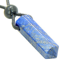 Lucky Crystal Point Pendant Necklace in Lapis Lazuli Gemstone