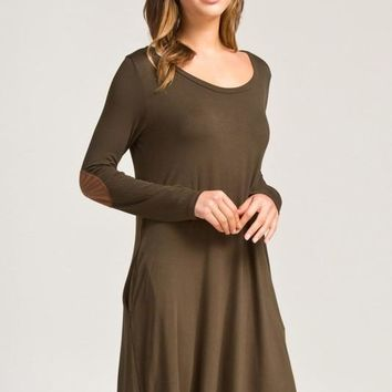 Olive Long Sleeve Elbow Patch Dress