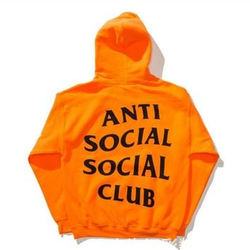 Fashion print Anti Social Social Clubblouse casual hooded sweater (2 color)