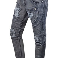 New Men Denim Gray Biker Jeans Original Fit