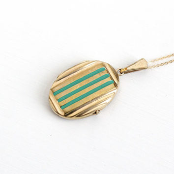 Antique Art Deco Era Enamel Locket Necklace - Circa 1930 10k Gold Filled Double Sided Teal Green Picture Photograph Oblong Pendant Jewelry
